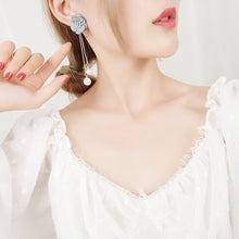 Load image into Gallery viewer, C-1445 Pollen Flower Pearl Tassel Earrings