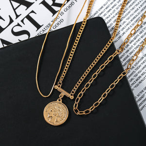 C-1424 3-Layer Set Multilayer Clavicle Sweater Chain Necklace
