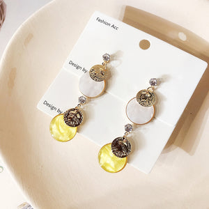 C-1201 Coin Circle Metal Earrings