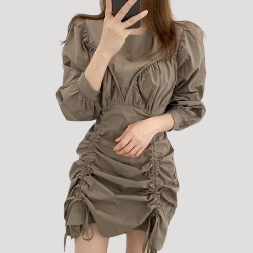 A-961 Drawstring Wrinkled Dress