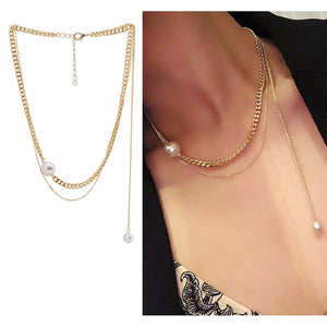 C-1233 Multilayer Pearl Chain Necklace