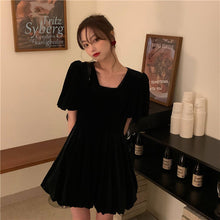 Load image into Gallery viewer, A-1018 Velvet Bubble Sleeve Dress