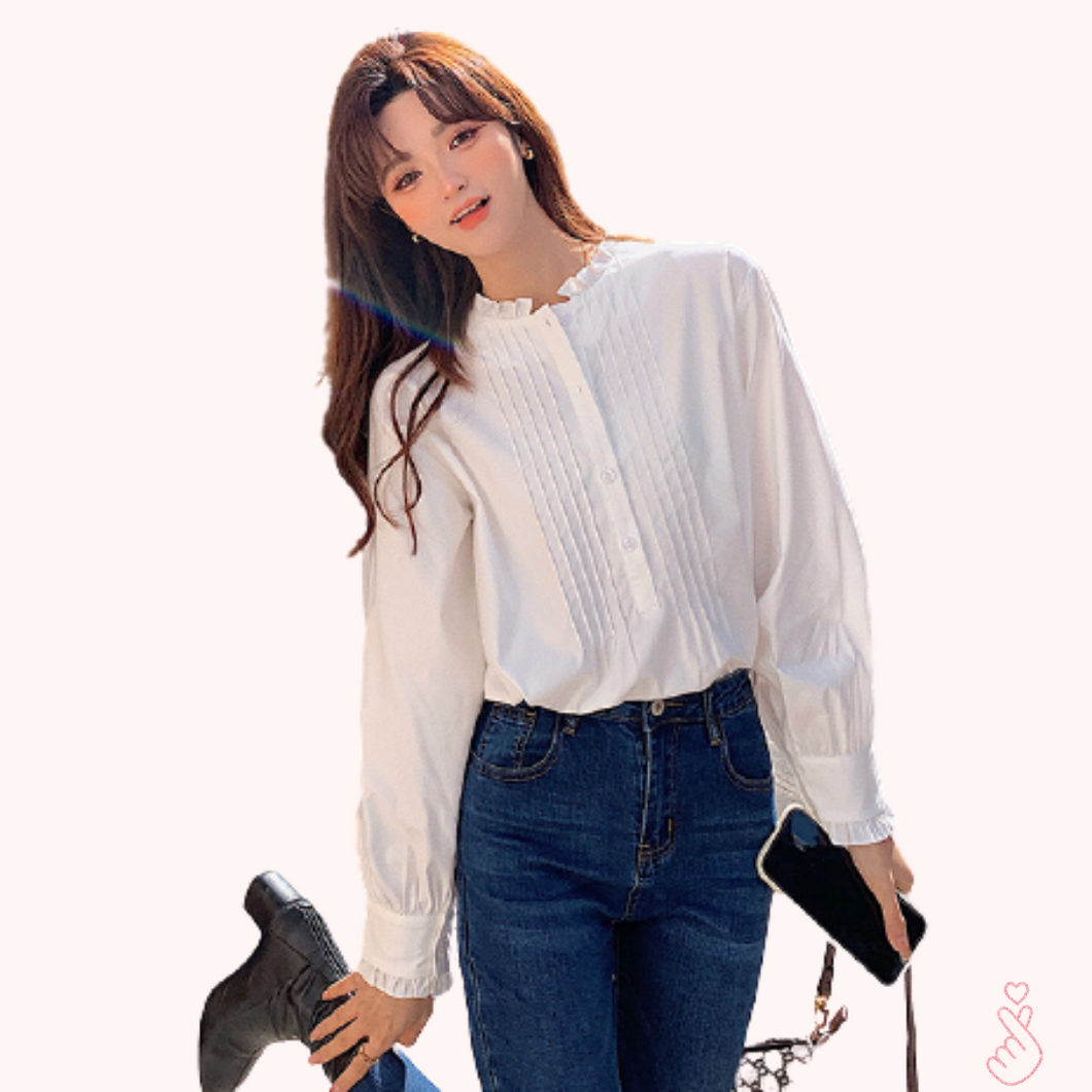 A-1024 Pleated Loose Blouse