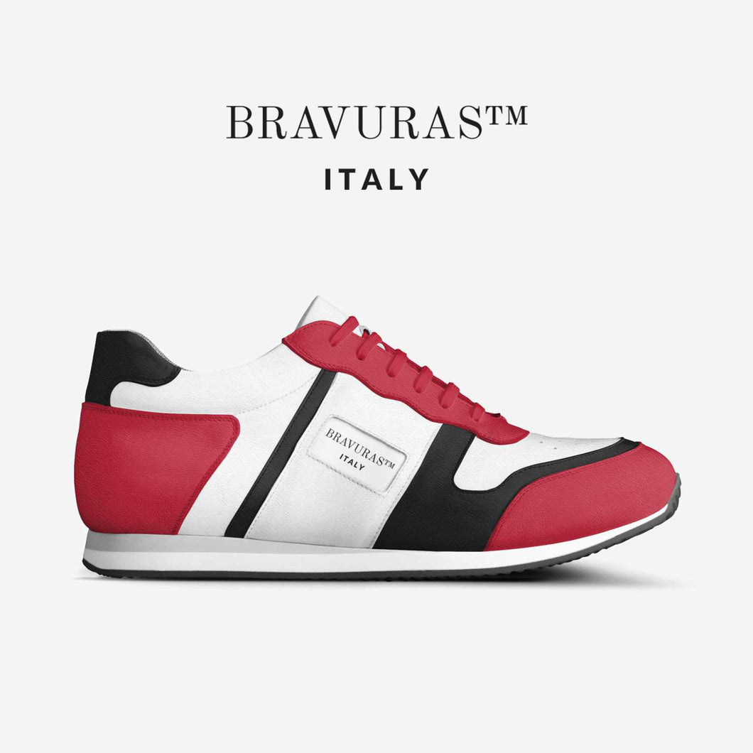 BRAVURAS Italy Vintage Running Trainers (RED & BLACK)