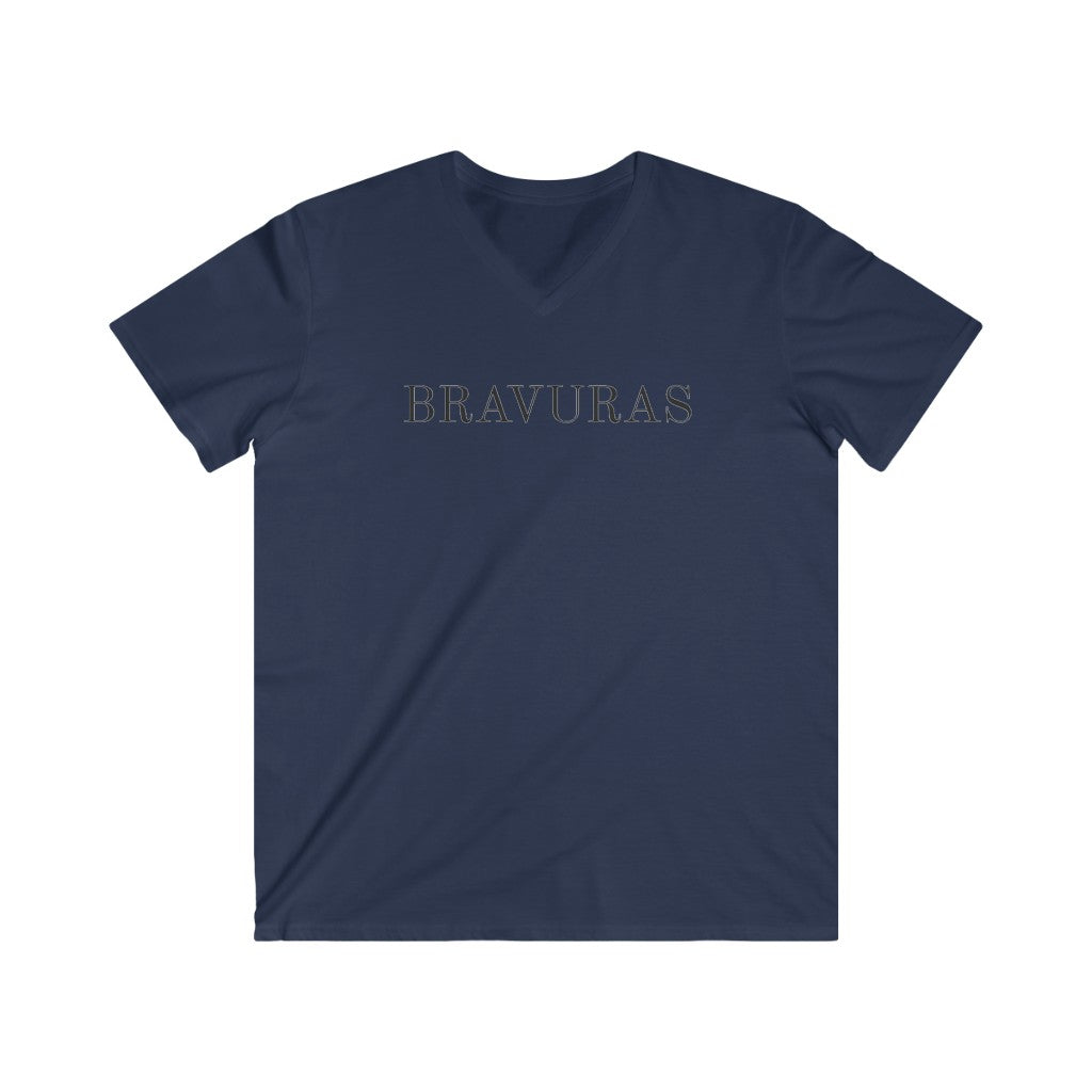 BRAVURAS Men's Fitted V-Neck Short Sleeve Tee