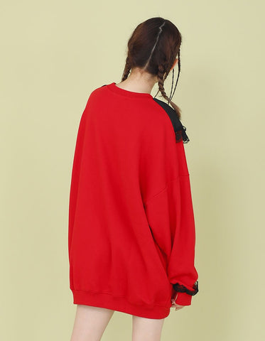 COLLAR ATTACHED SWEATER / RED