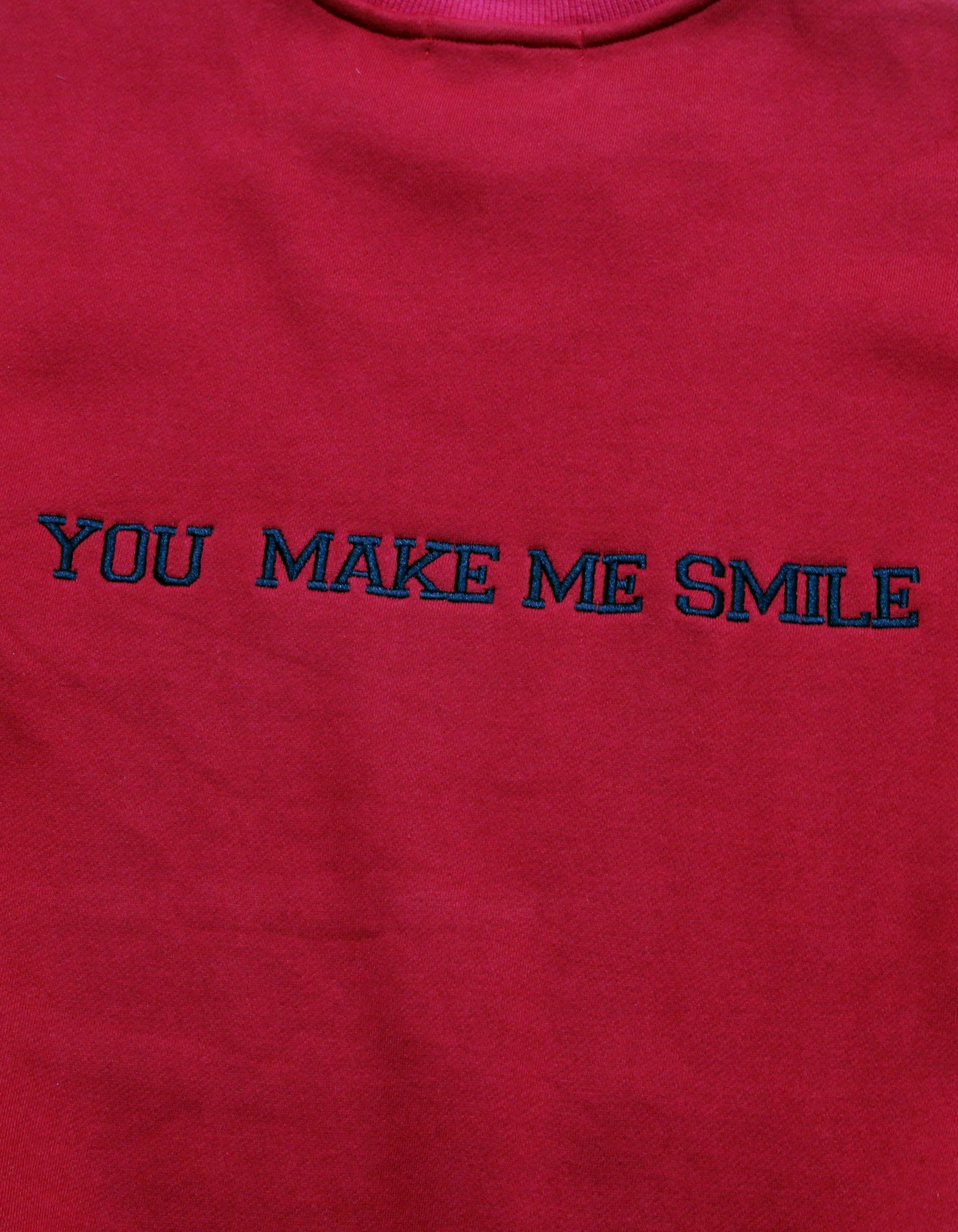smile print sweat top / RED