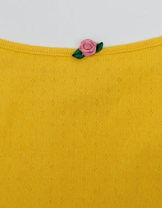 ORIGINAL ROSE BUTTON CARDIGAN AND CAMI SET / YELLOW
