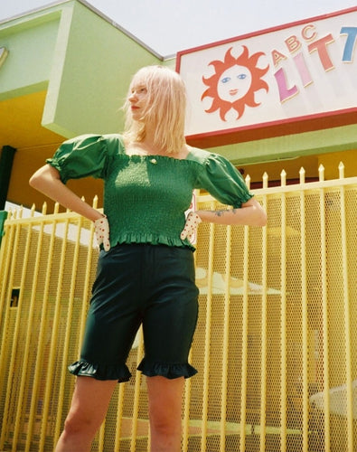 FAKE LEATHER SHORT PANTS / GREEN
