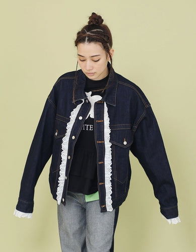 FRILLED DENIM BOMBER JACKET / NAVY