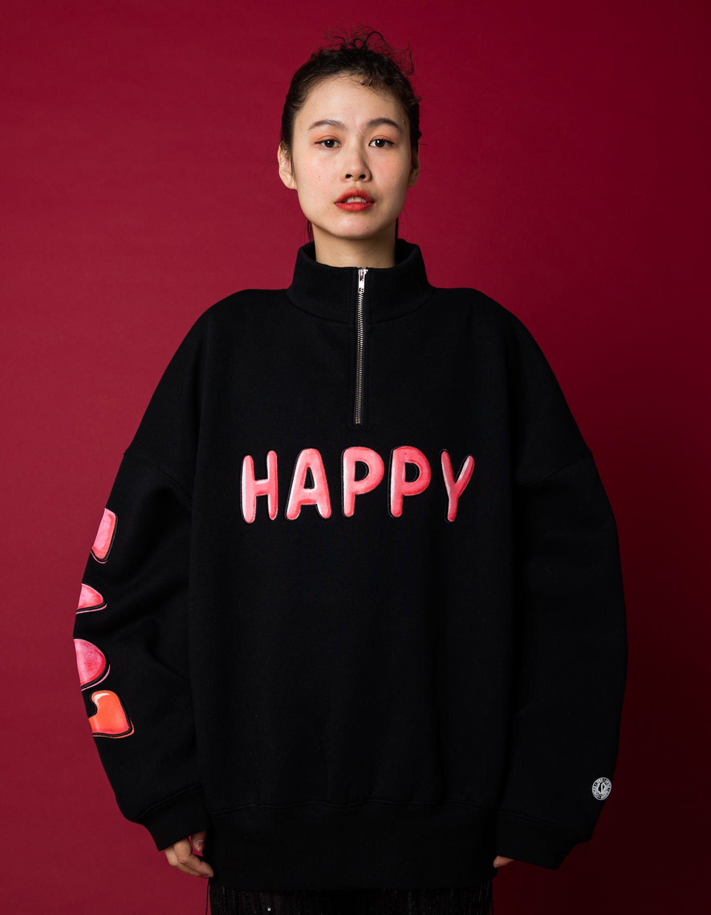 HAPPY LOVE zip sweat top / BLACK