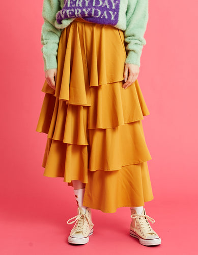 Tiered skirt / YELLOW