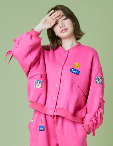 Patches all over sweat jacket / PINK