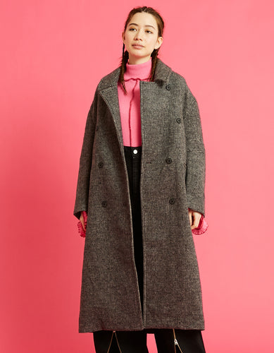 Big check coat / BLACK