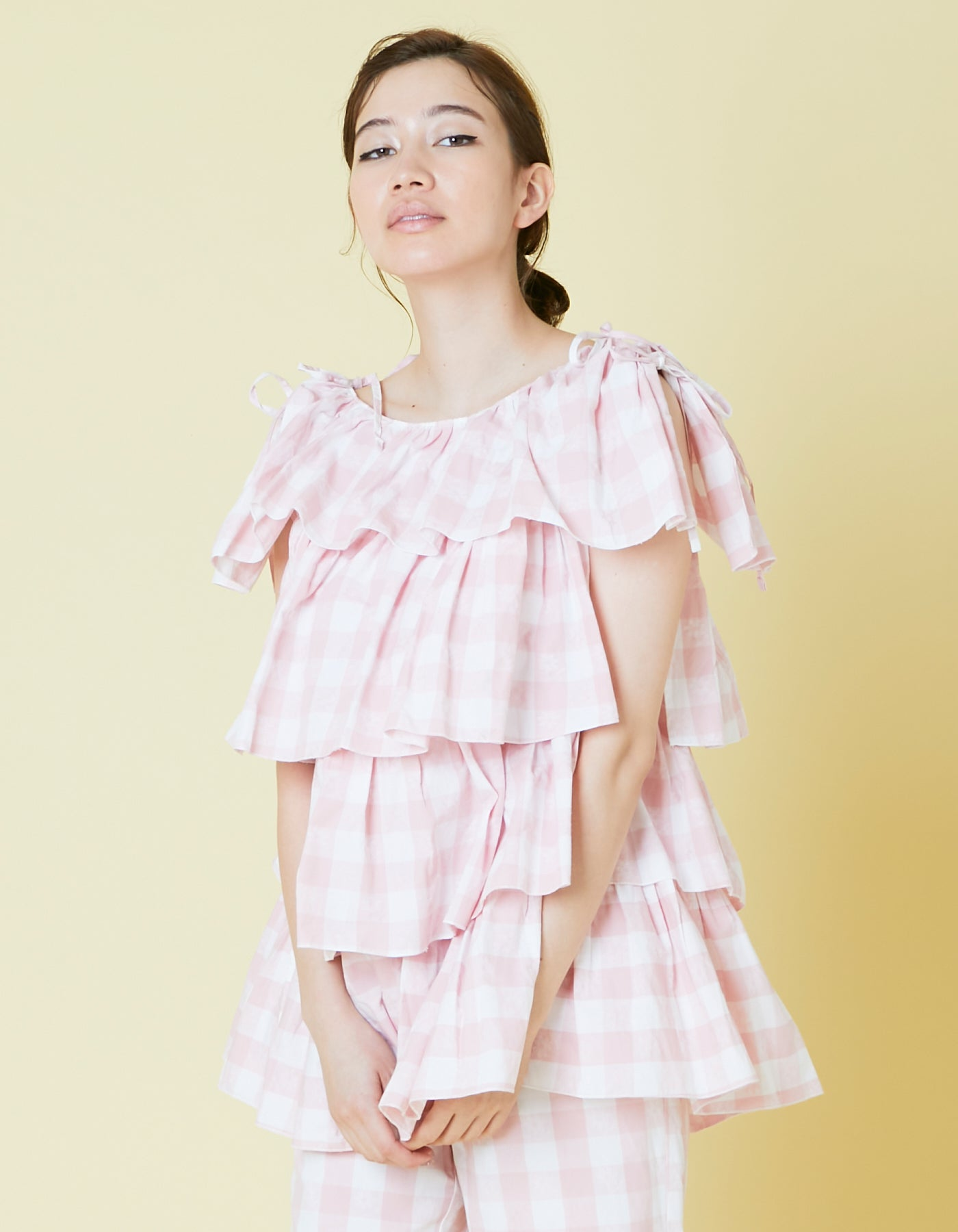 Original floral block check tiered tunic / PINK
