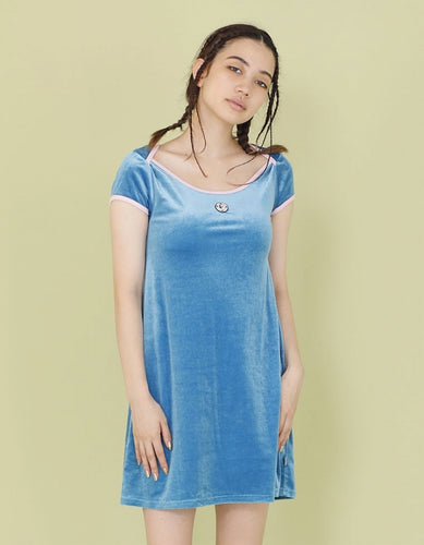 VELOUR TEE DRESS / BLUE