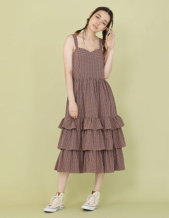 CHECKER LONG DRESS / PINK