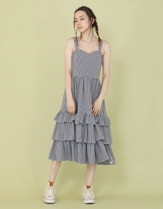CHECKER LONG DRESS / BLACK