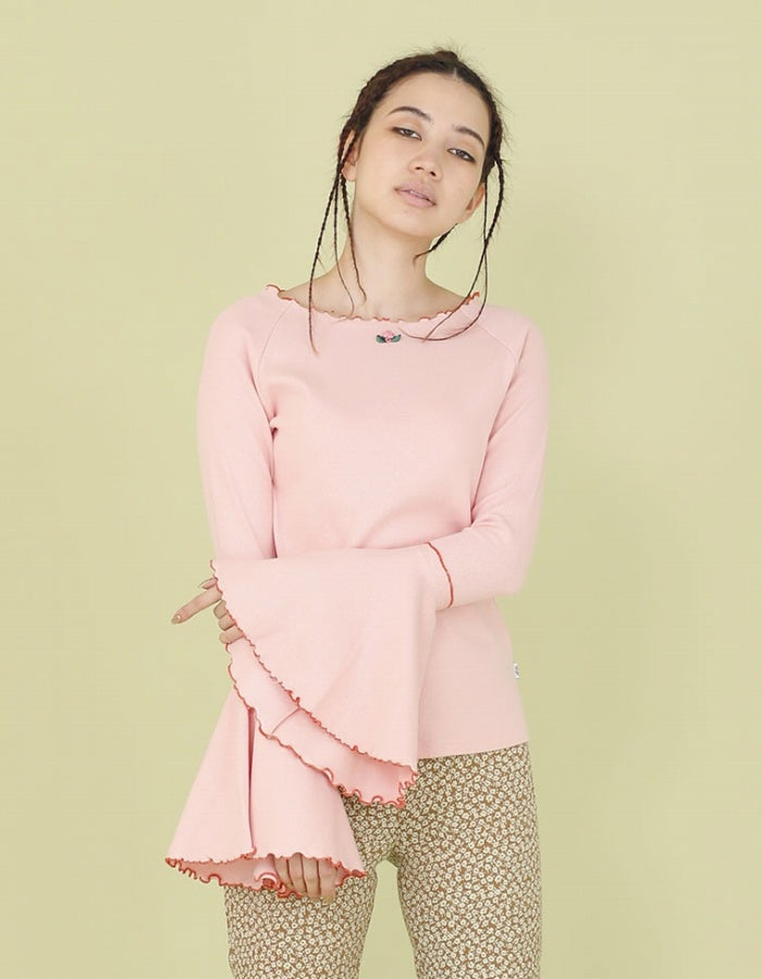 RIB BELL SLEEVE LONG TOP / PINK