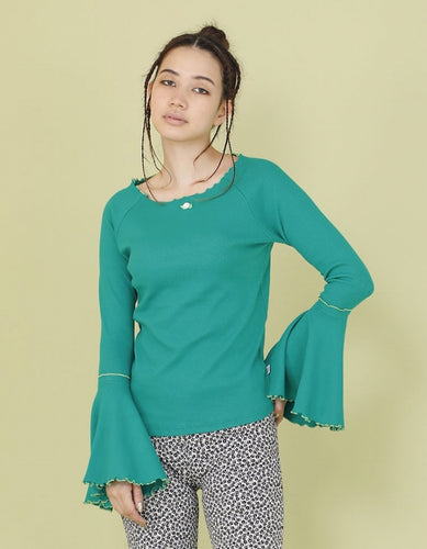 RIB BELL SLEEVE LONG TOP / GREEN
