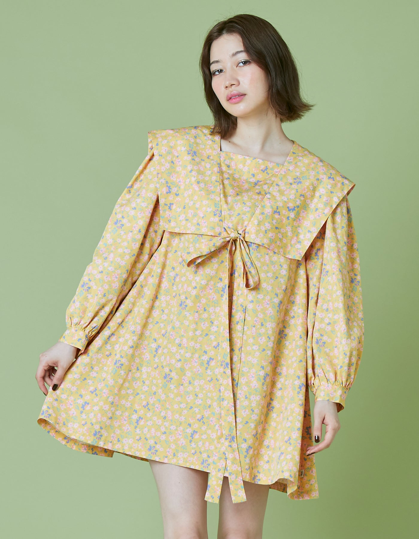 Original floral sailor dress / YELLOW