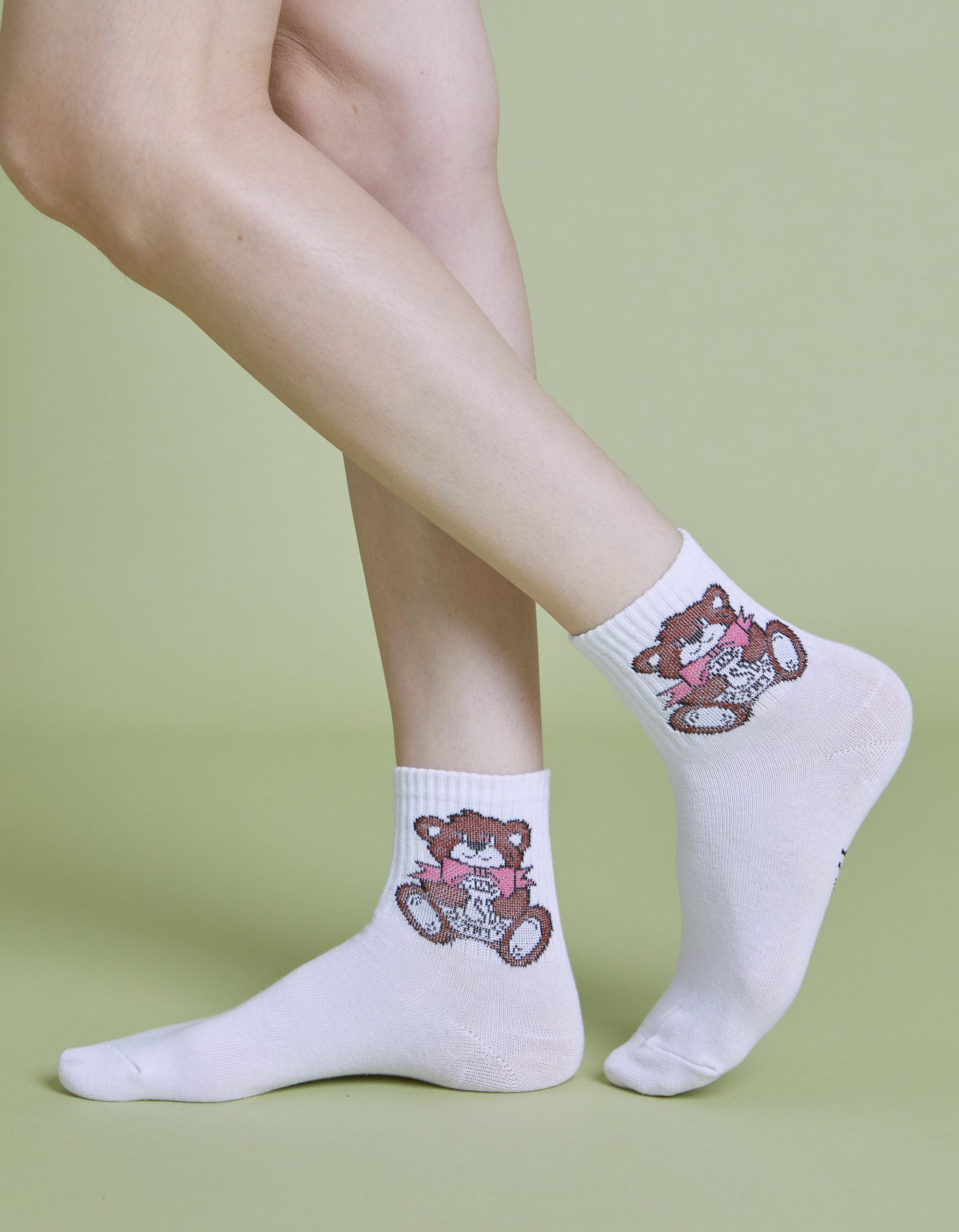 Cutie bear LSB logo socks / WHITE