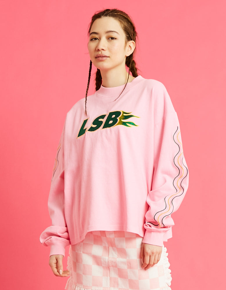 LSB fire short long tee / PINK