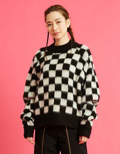 Checker knit top / BLACK