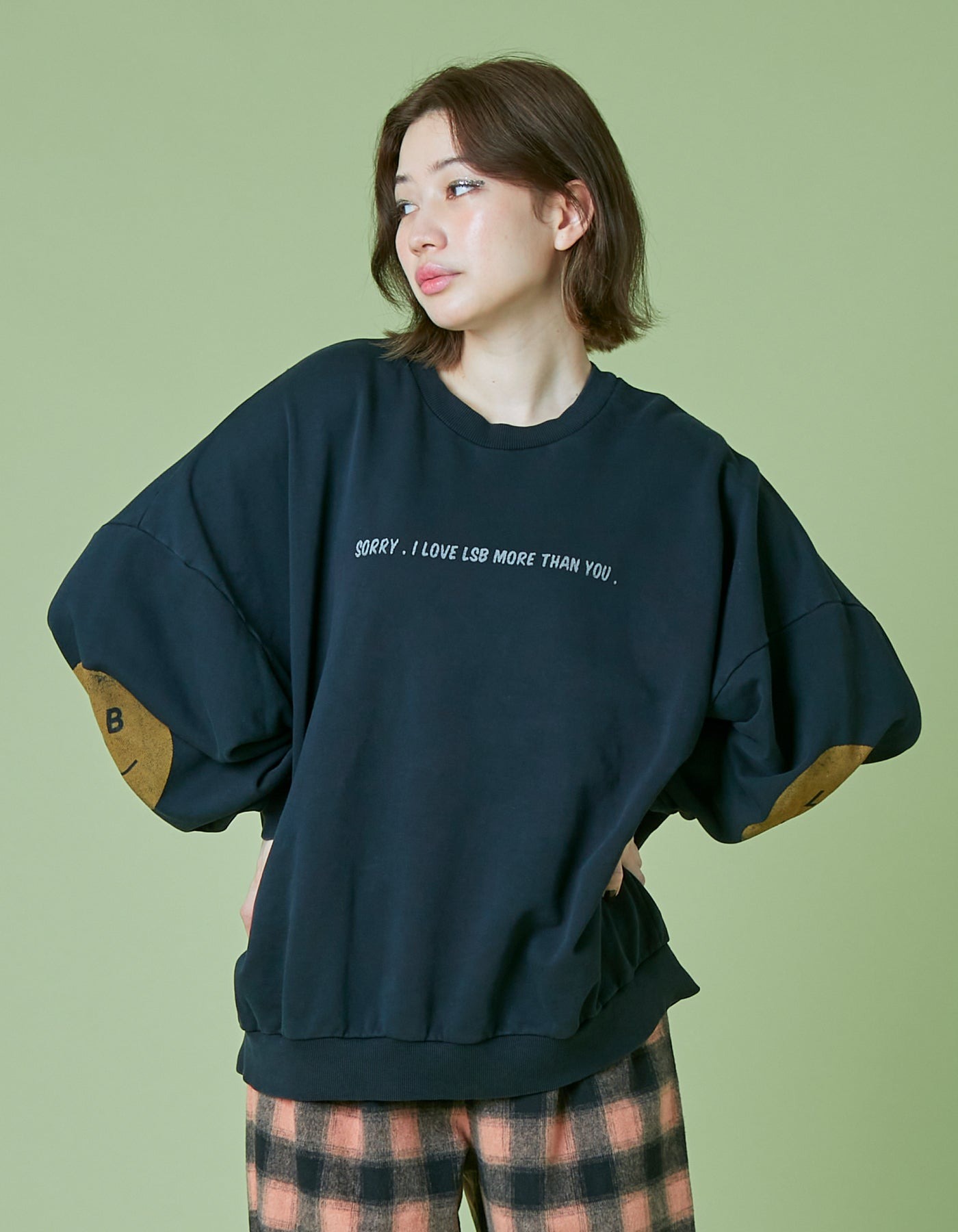 I'm sorry washed sweat top / BLACK