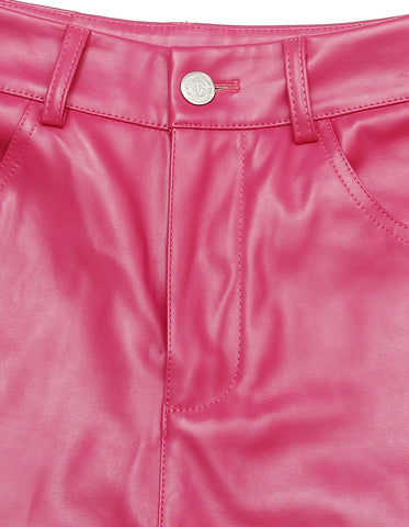 FAKE LEATHER SHORT PANTS / PINK