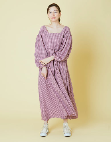 Check bomber sleeve long dress / PINK