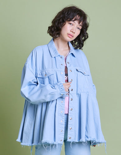 Original colored denim washed jacket / BLUE