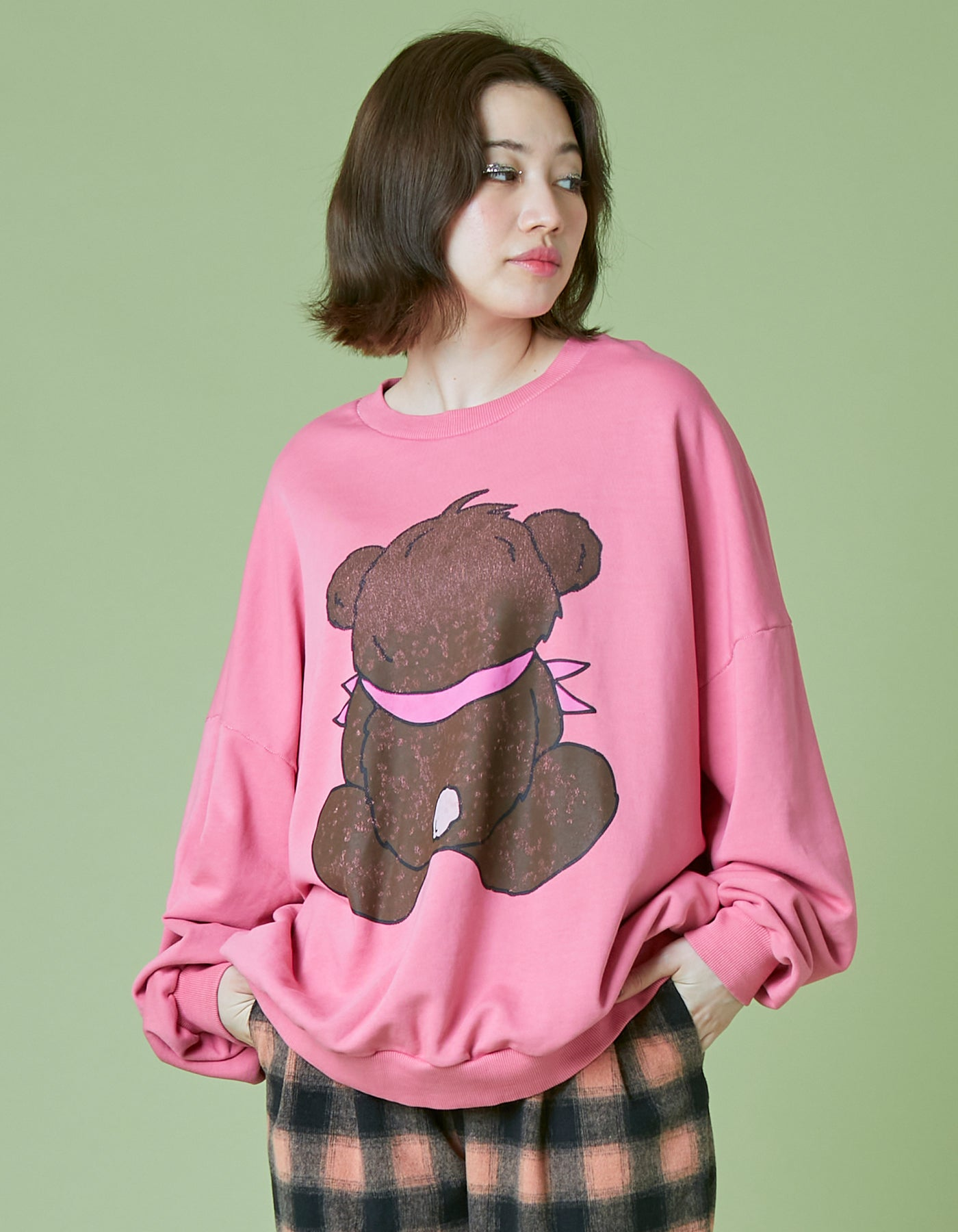 Bear washed sweat top / PINK