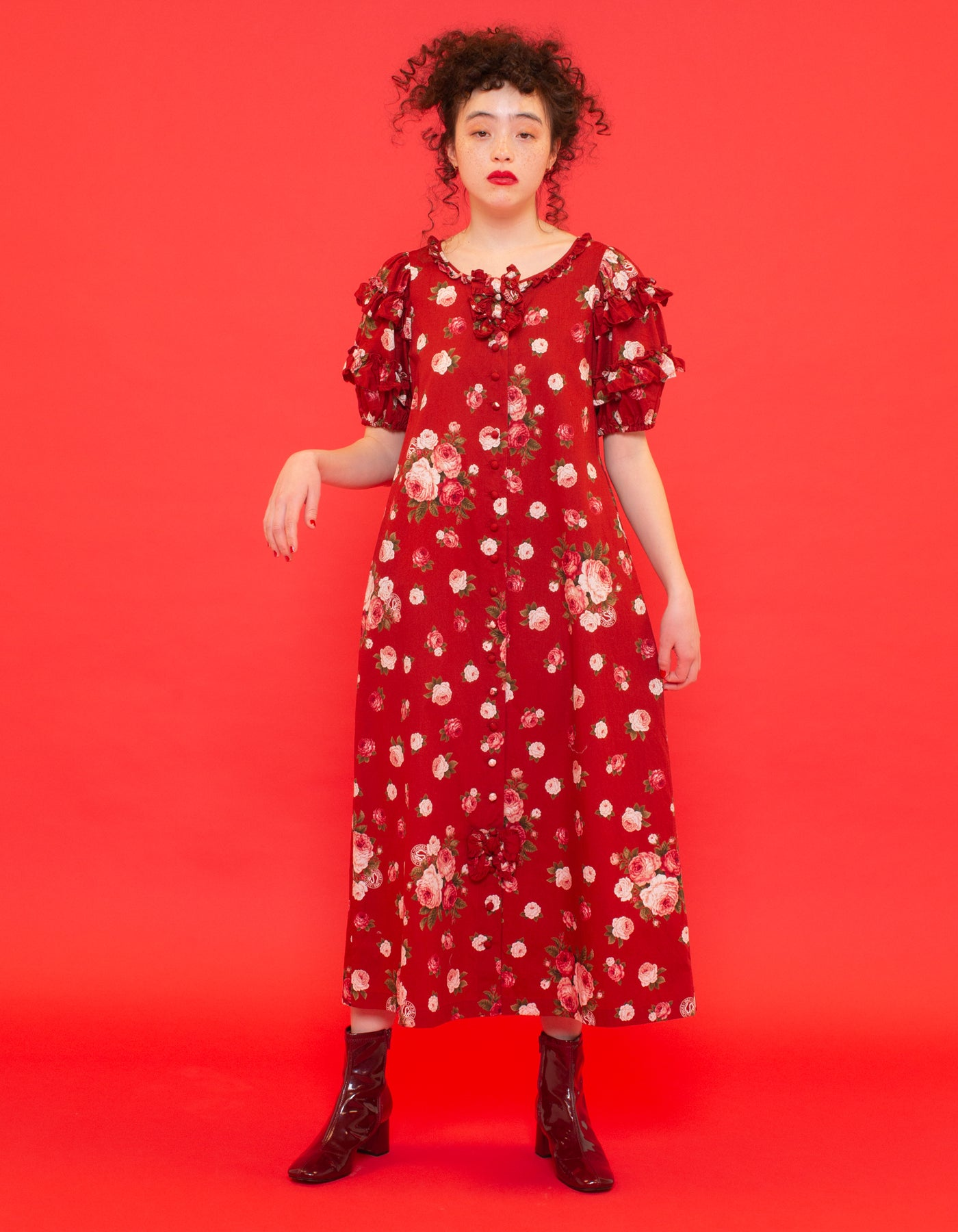 little sunny bite と pink house Rose print puff sleeve long dress / RED