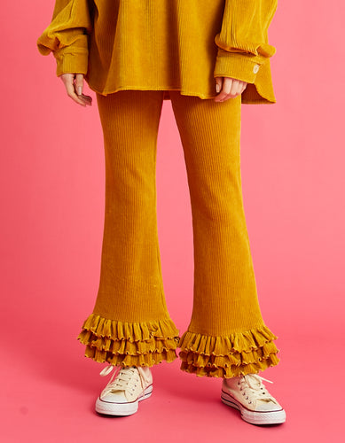 Corduroy frill pants / YELLOW