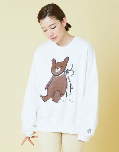 ogura akane x little sunny bite Bear sweat top / WHITE