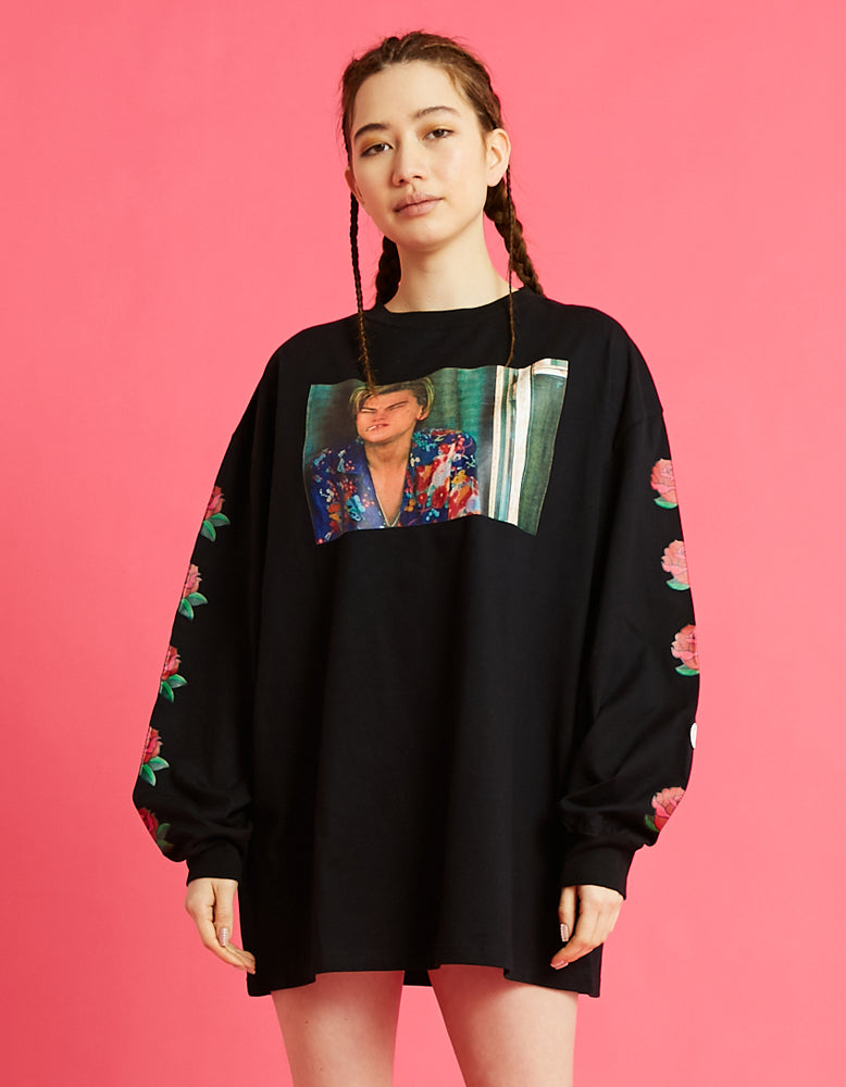 Romeo and juliet X LITTLE SUNNY BITE : Photo long tee rose sleeve / BLACK