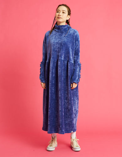 Velor high neck long dress / BLUE