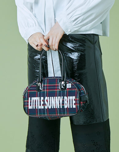 Checked mini bag / NAVY