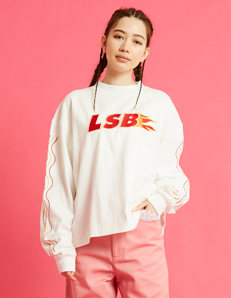 LSB fire short long tee / WHITE