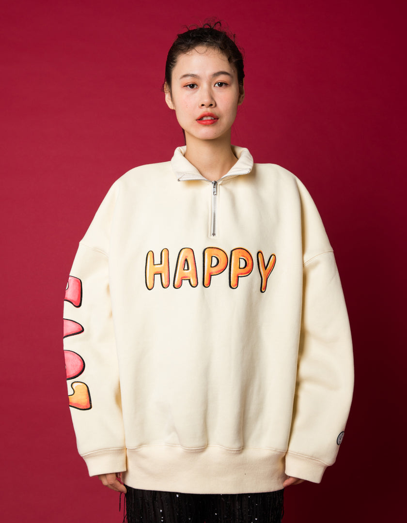 HAPPY LOVE zip sweat top / WHITE