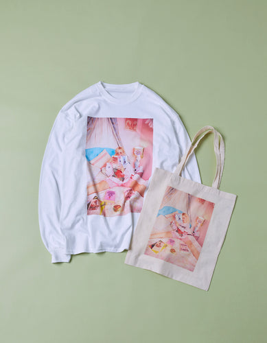 Petite meller meets little sunny bite long tee and tote bag set / WHITE