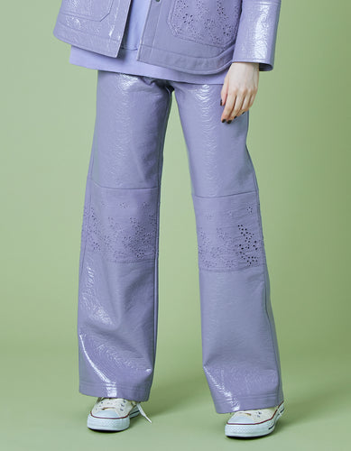 Synthetic leather pants / PURPLE