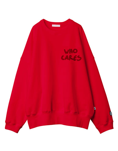 Who cares stitch sweat top / RED