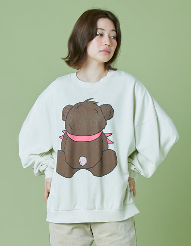 Bear washed sweat top / WHITE