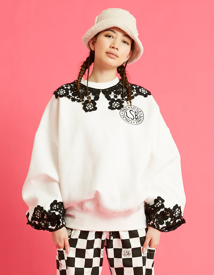LSB logo big collar sweat top / WHITE
