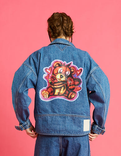Left Hand X LITTLE SUNNY BITE : graffiti denim jacket / WASH