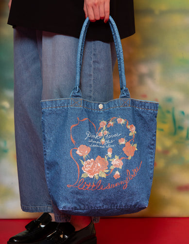 little sunny bite と pink house Rose heart denim bag / L/INDIGO
