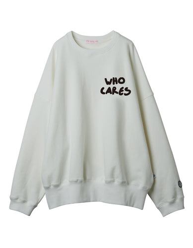 Who cares stitch sweat top / WHITE