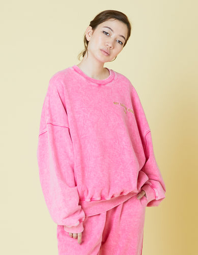 Chemical wash sweat top / PINK